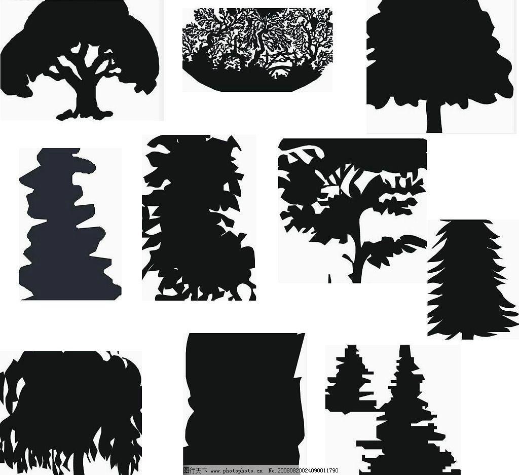 树木风影剪影矢量图(2)图片