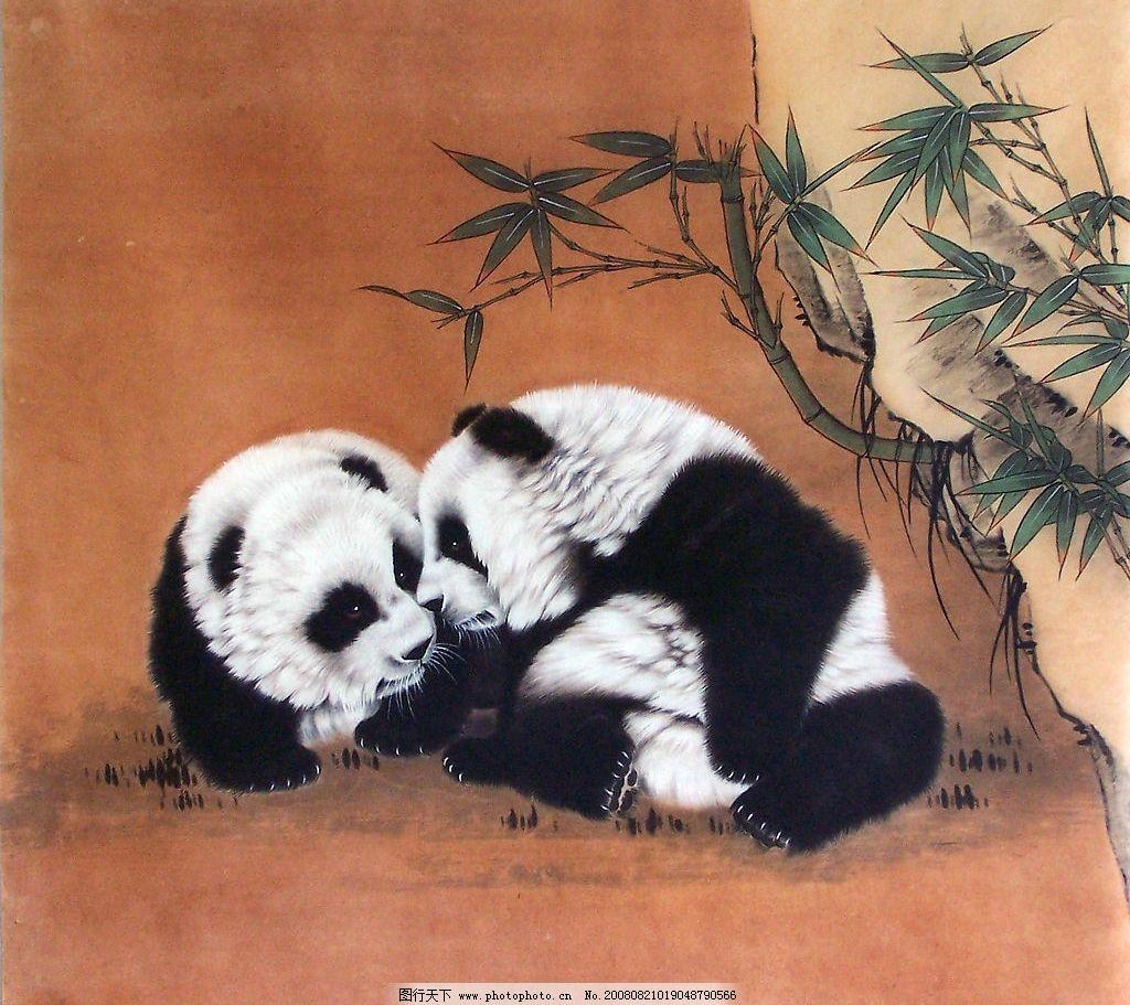 国画熊猫 熊猫母子 竹子