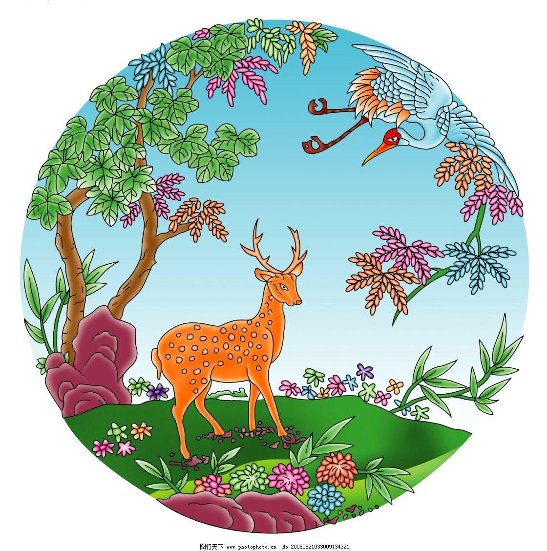 丹顶鹤和树国画