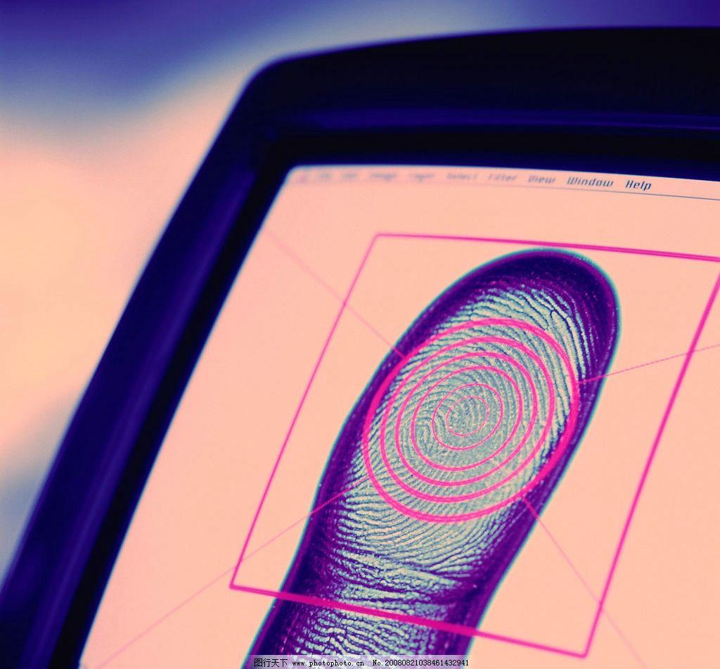 指纹识别系统 手指 上班打卡 指纹打卡 高科技 先进 电脑 摄影图库
