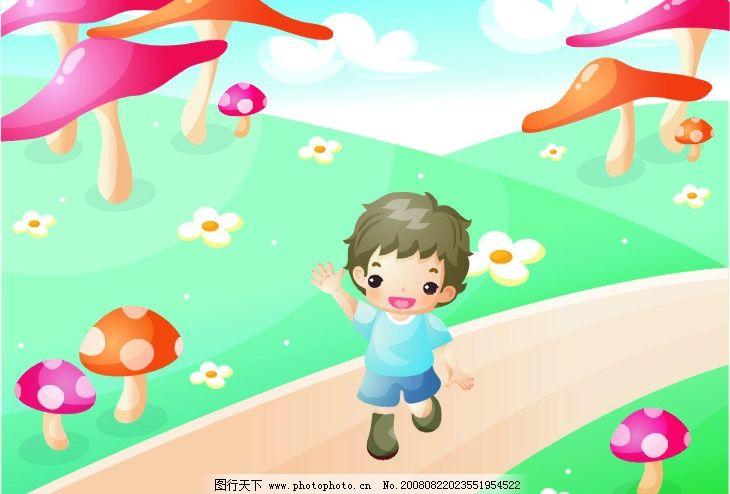 矢量小男孩 韩国矢量小男孩 蘑菇 矢量人物 儿童幼儿 矢量图库 cdr