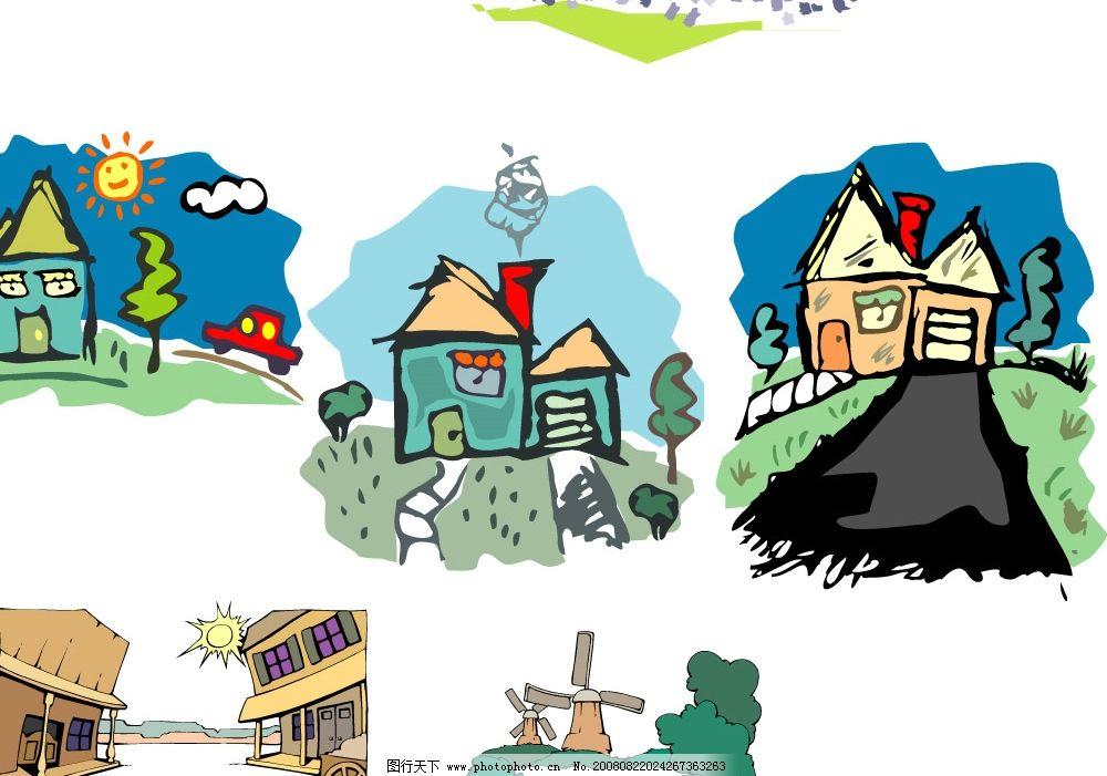 矢量城市建筑 矢量 城市 建筑 可爱 卡通 插图 素材 设计 cdr 自然