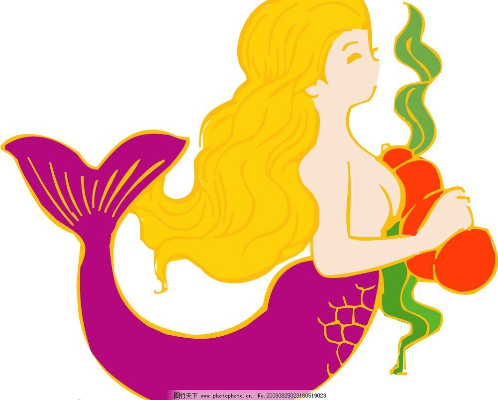 美人鱼 美女 黄头发 矢量图 矢量人物 日常生活 矢量图库