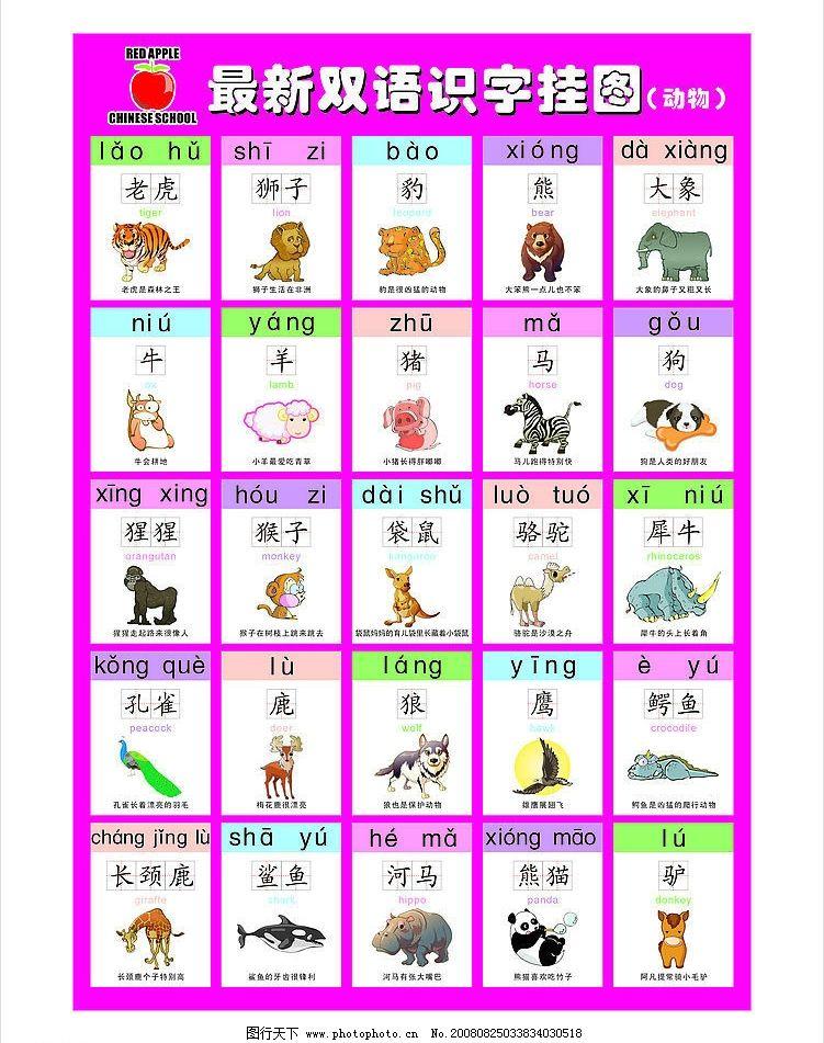 幼儿教育之七 看图认字 看图学儿歌 学拼音 幼儿识字 幼儿学字挂图