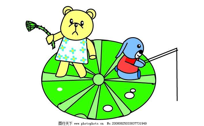 卡通小熊和小狗在钓鱼 小熊 小狗 荷叶 莲蓬 鱼杆 其他矢量 矢量素材