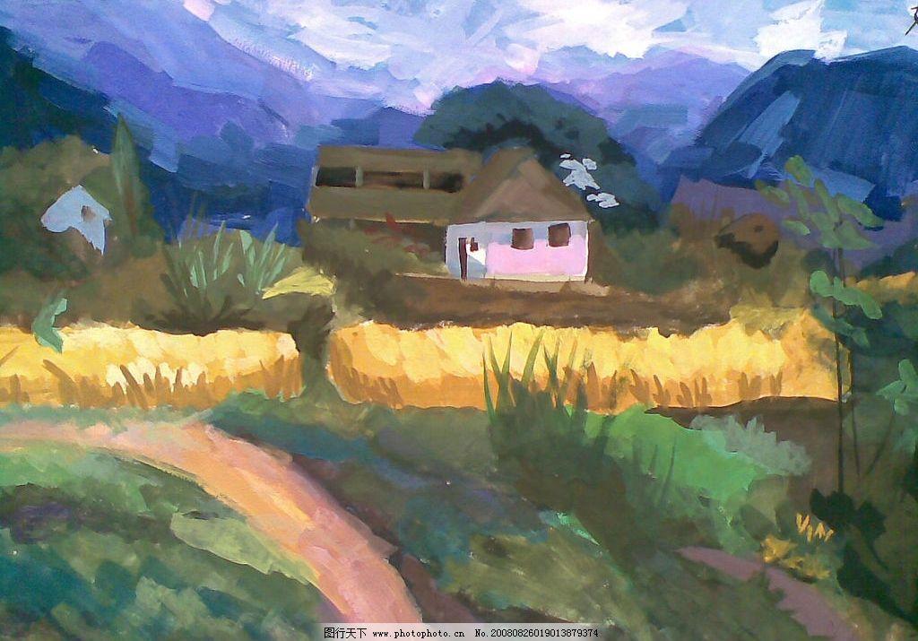 山间小屋 水粉 手工画 群山 小屋 小径 文化艺术 绘画书法 水粉风景画