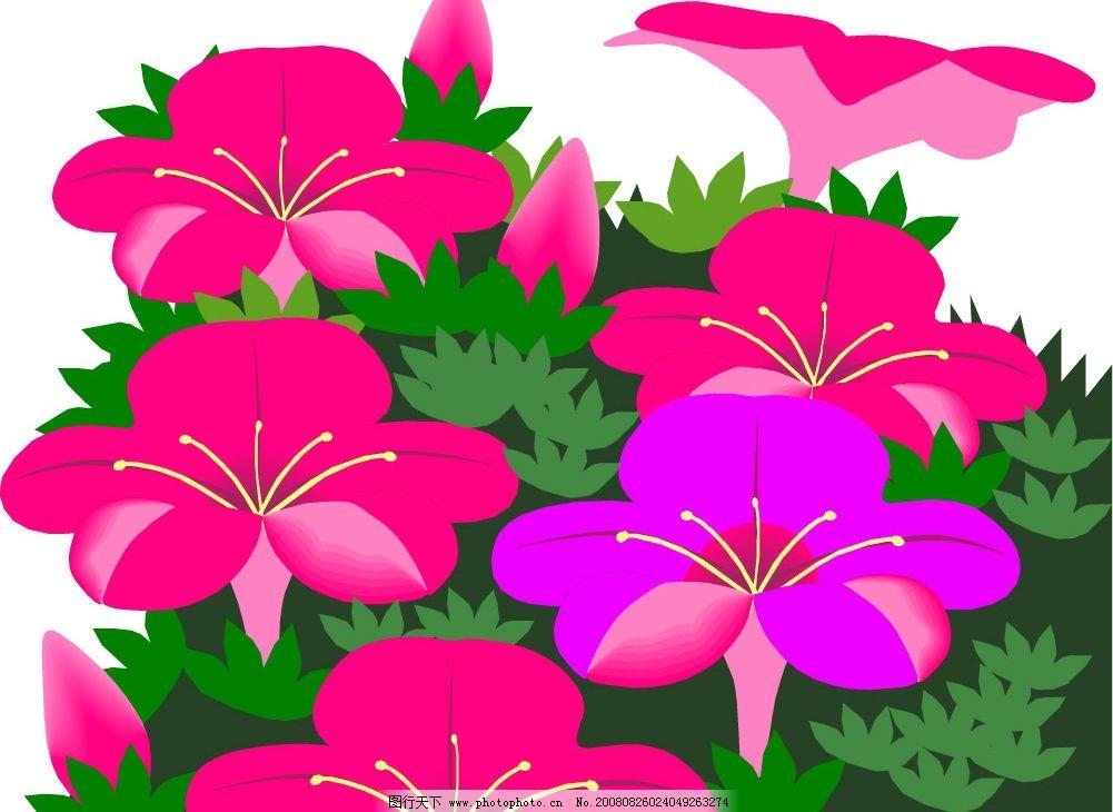 红花 绿叶 自然景观 自然风景 矢量图库 wmf