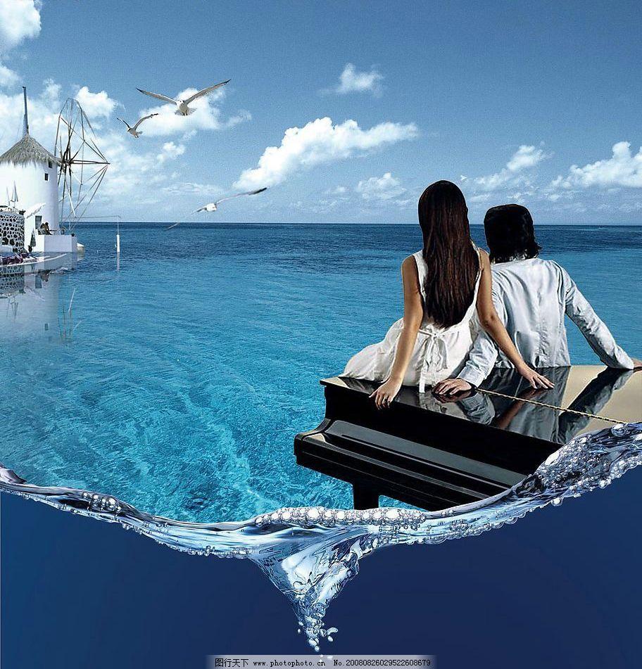 浪漫爱琴海 经典爱情 爱琴海 水景 精美房地产素材 高精度 分层 水鸟