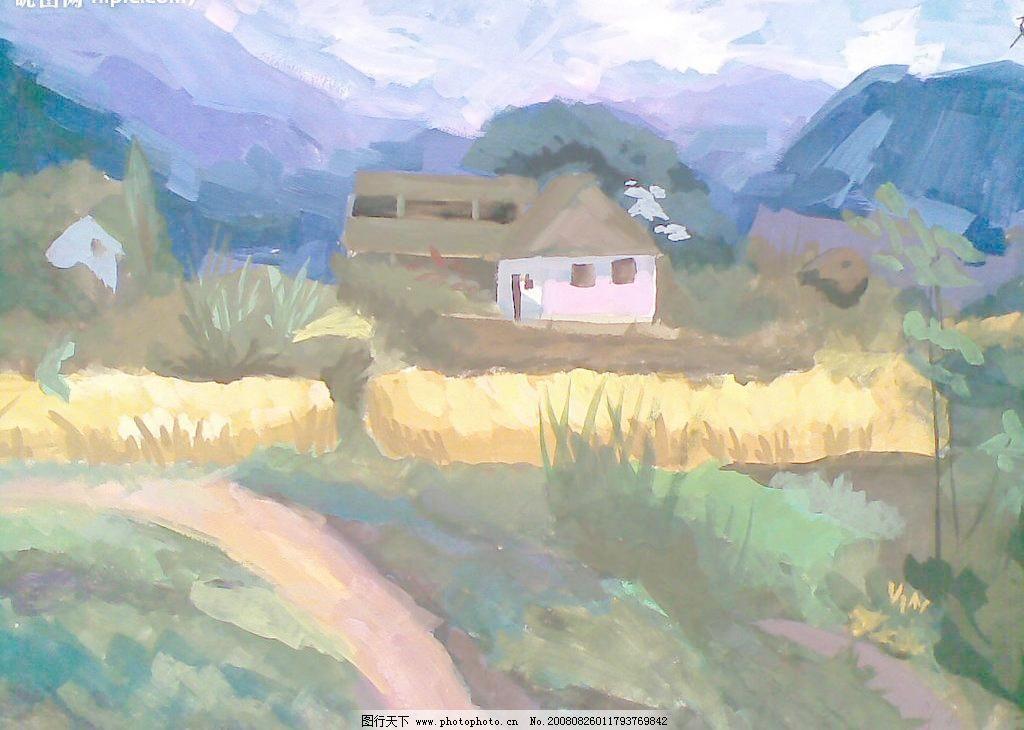 山间小屋图片_山水风景画_装饰素材_图行天下图库