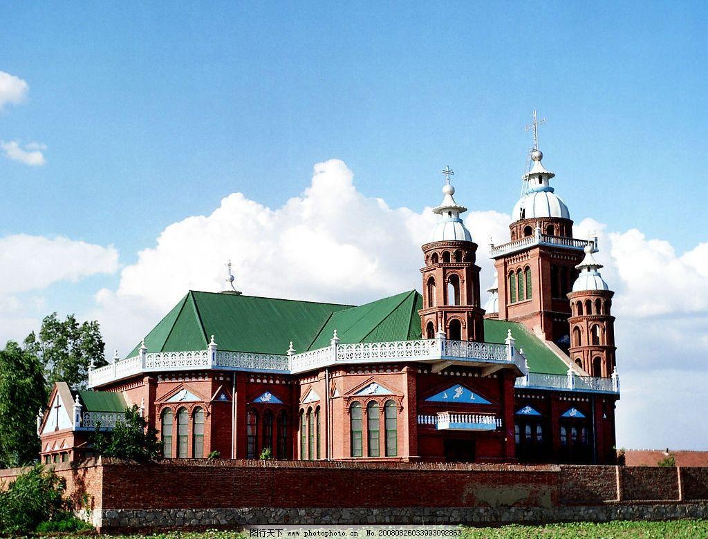 教堂 欧式建筑 蓝天 白云 绿树 旅游摄影 国内旅游 摄影图库 300dpi