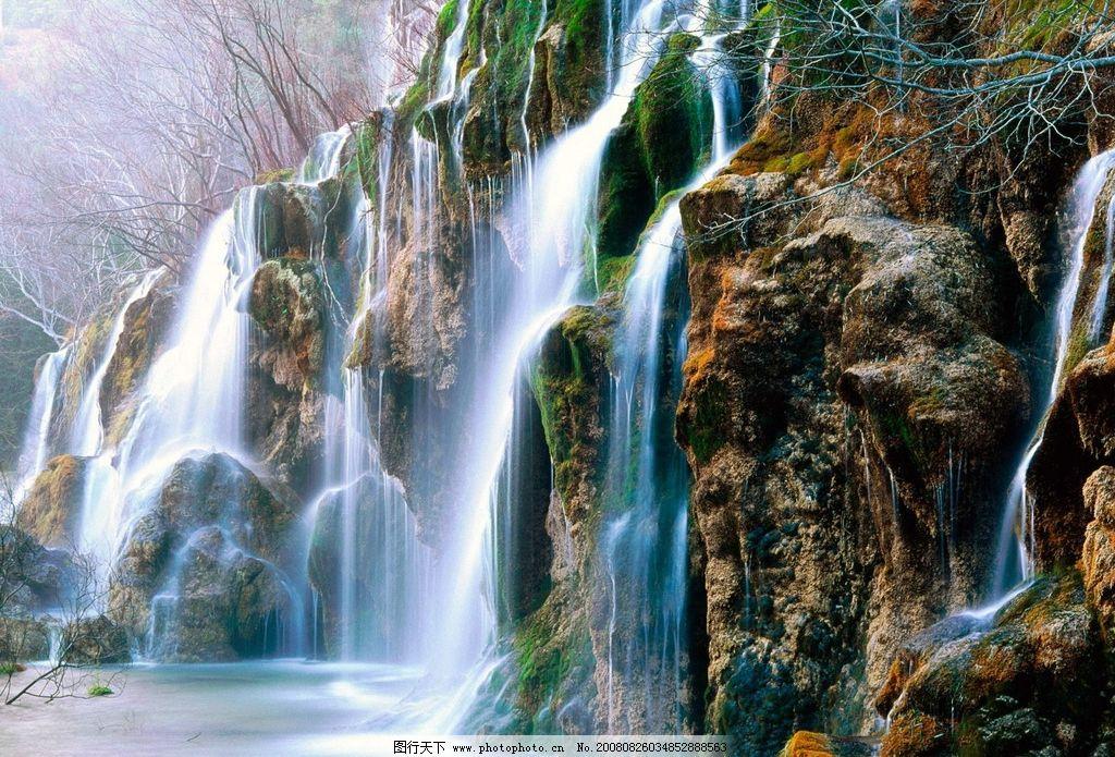 山水图 高山 流水 树木 自然景观 自然风景 摄影图库