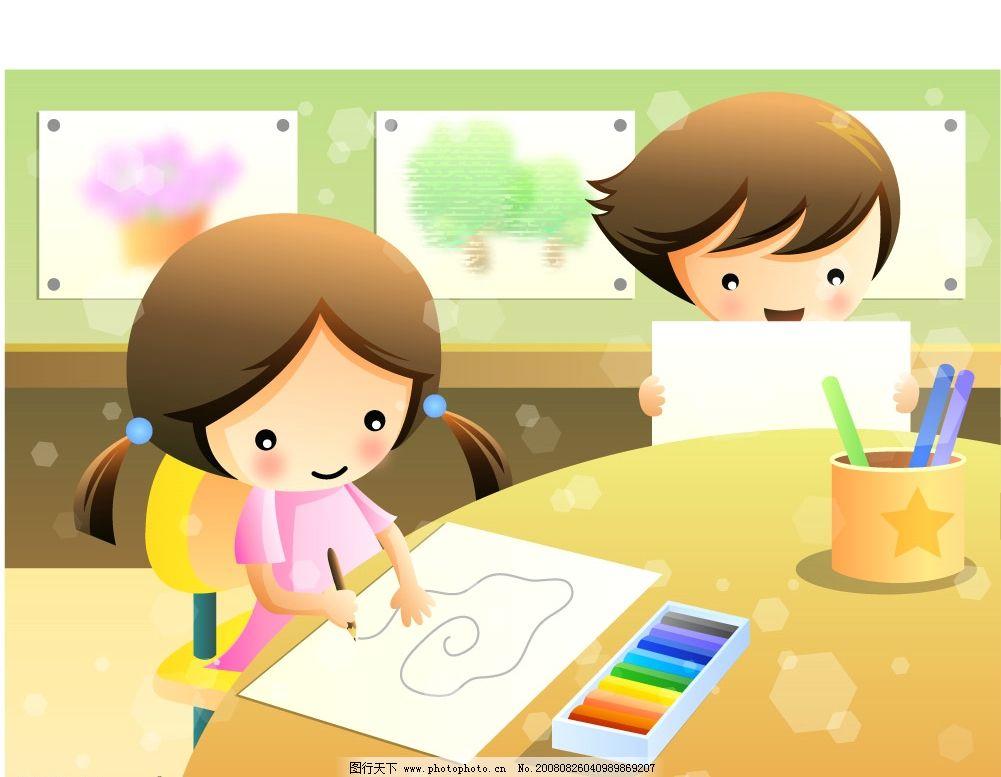 画画的小女孩 颜料 彩笔 教室 矢量人物 儿童幼儿 矢量图库