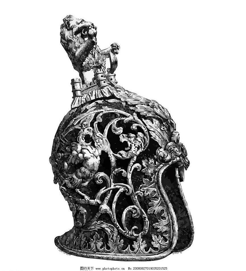 欧洲古代头盔精美矢量图图片