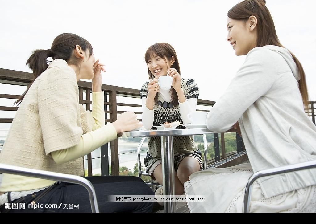 三个喝茶的女孩 少女 姑娘 杯子 人物摄影 人物篇 摄影图库