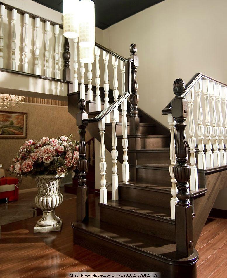室内楼梯 豪华家居 实木楼梯 白色 花瓶 建筑园林 室内摄影 摄影图库