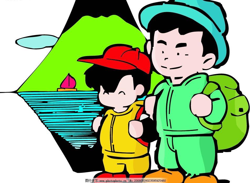 儿童 两个小孩 绿色书包 高高兴兴上学校 矢量人物 儿童幼儿 矢量图库图片