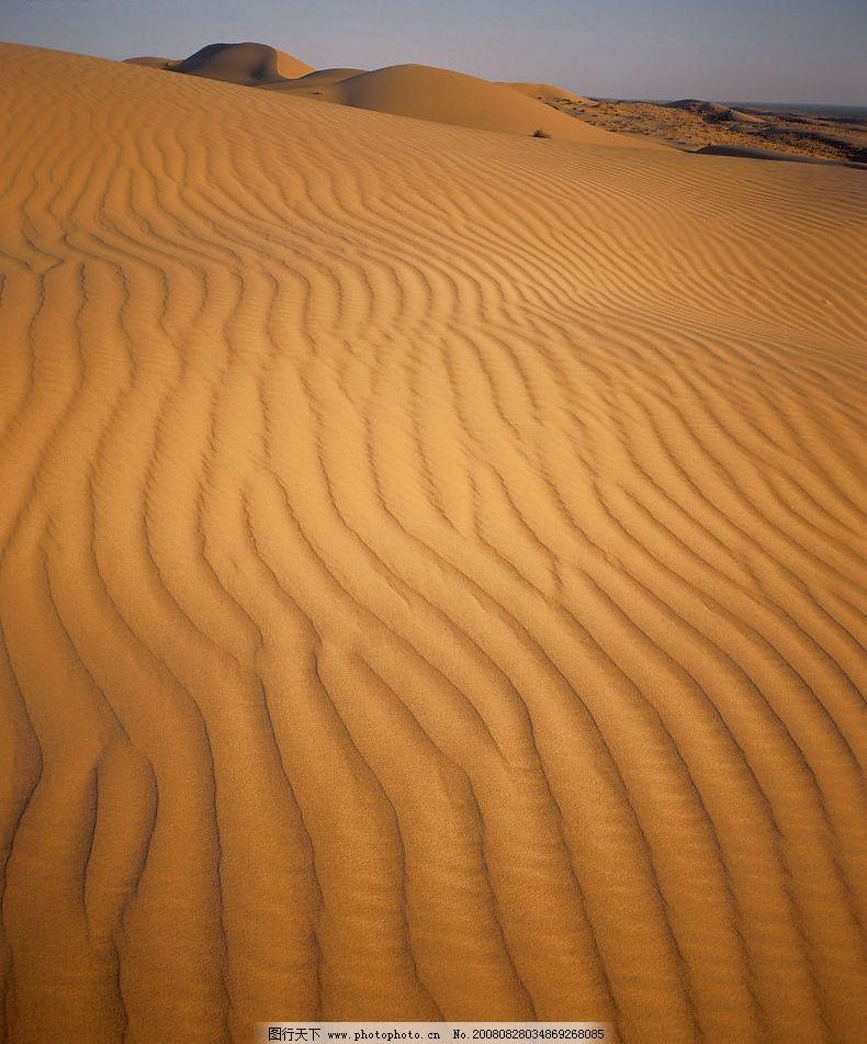 沙漠风光 黄沙 沙海 鱼鳞沙 天空 自然景观 自然风景 摄影图库