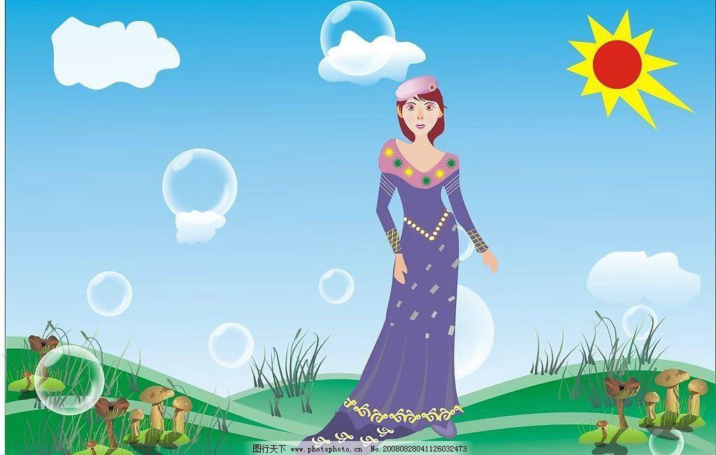 矢量插画春天的美少女 矢量人物 妇女女性 矢量图库