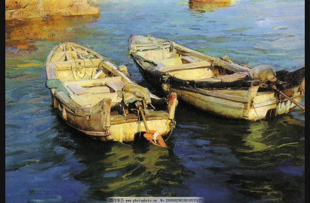 小船油画 湖 文化艺术 美术绘画 摄影图库 300dpi jpg 绘画书法 设计图片