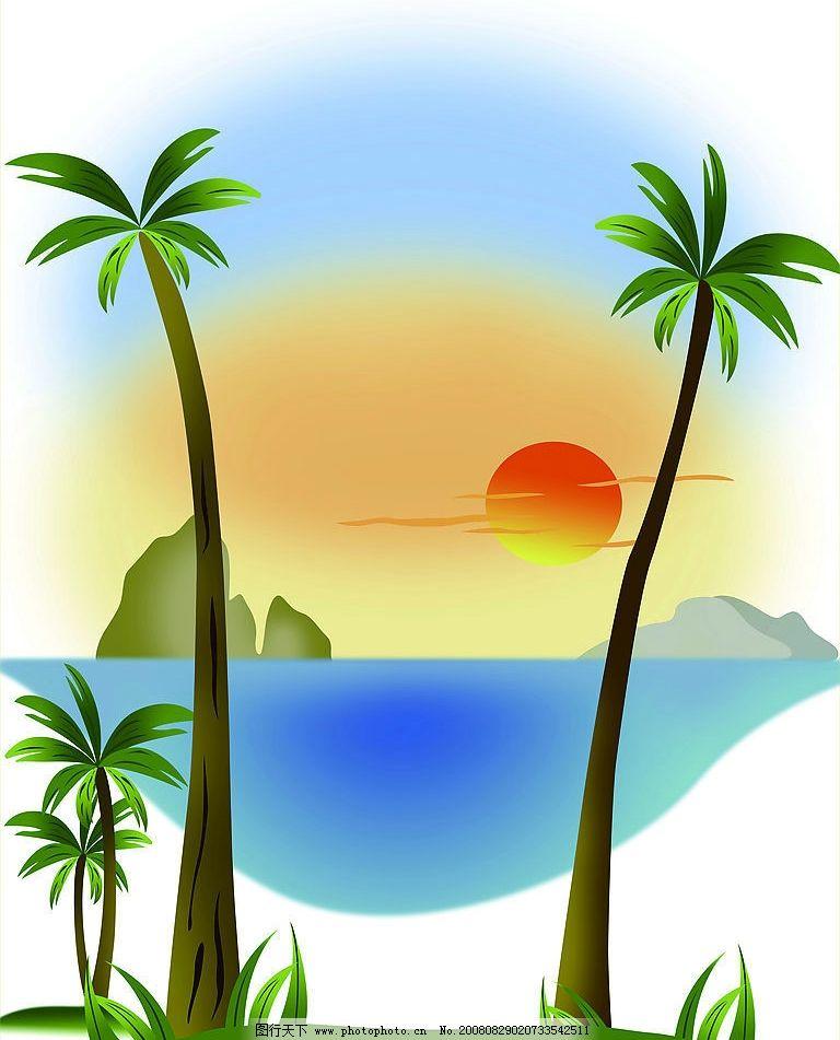 椰子树 椰子 树 大海 小岛 黄昏 移门 玻璃 强化 文化艺术 其他 移门