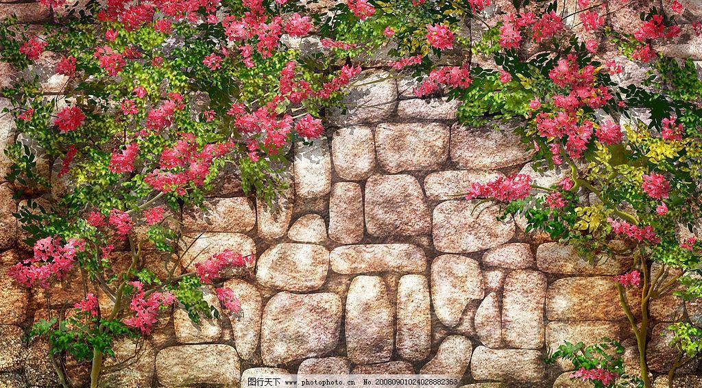 蔷薇 石墙 手绘 壁纸 自然风景