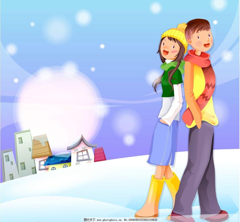 圣诞情侣 圆点 雪地 房屋 背靠背 冬天 其他矢量 矢量素材 圣诞节专题