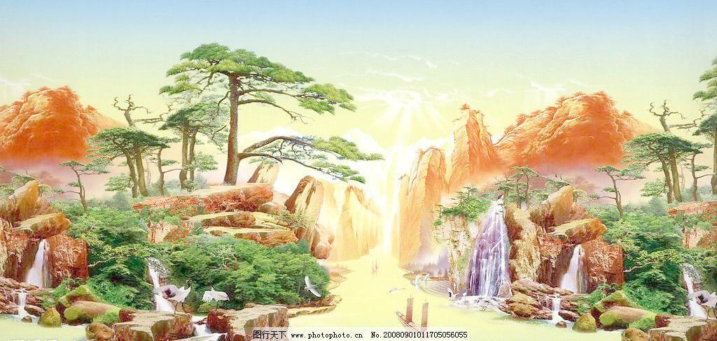 风景画 风景画图片免费下载 山峦 松树 小船 自然风光 自然景观