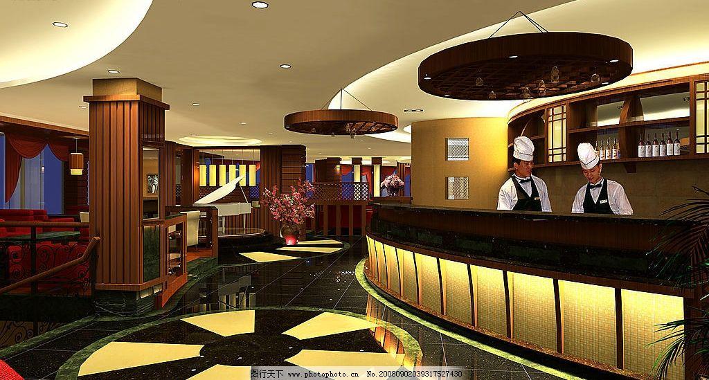 咖啡厅 咖啡厅吧台 灯光 服务生 建筑园林 室内摄影 摄影图库 150dpi