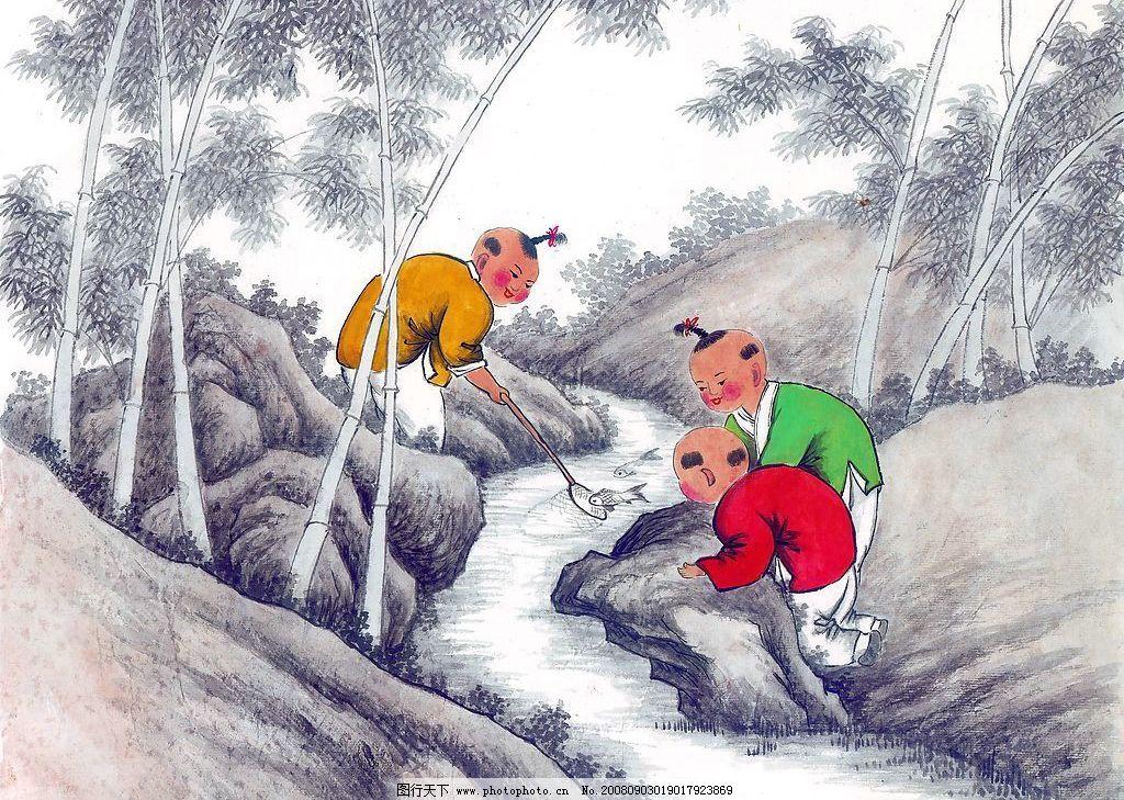 山 石头 水 溪 小溪 流水 水流 涧 山涧 人物 动物 植物 国画 中国画