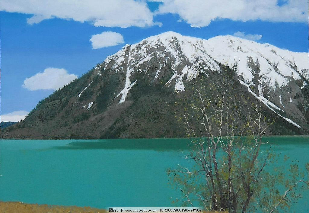 黄箫油画风景 黄箫 油画 风景 西藏 雪山 湖 阳光 草地 蓝天 白云