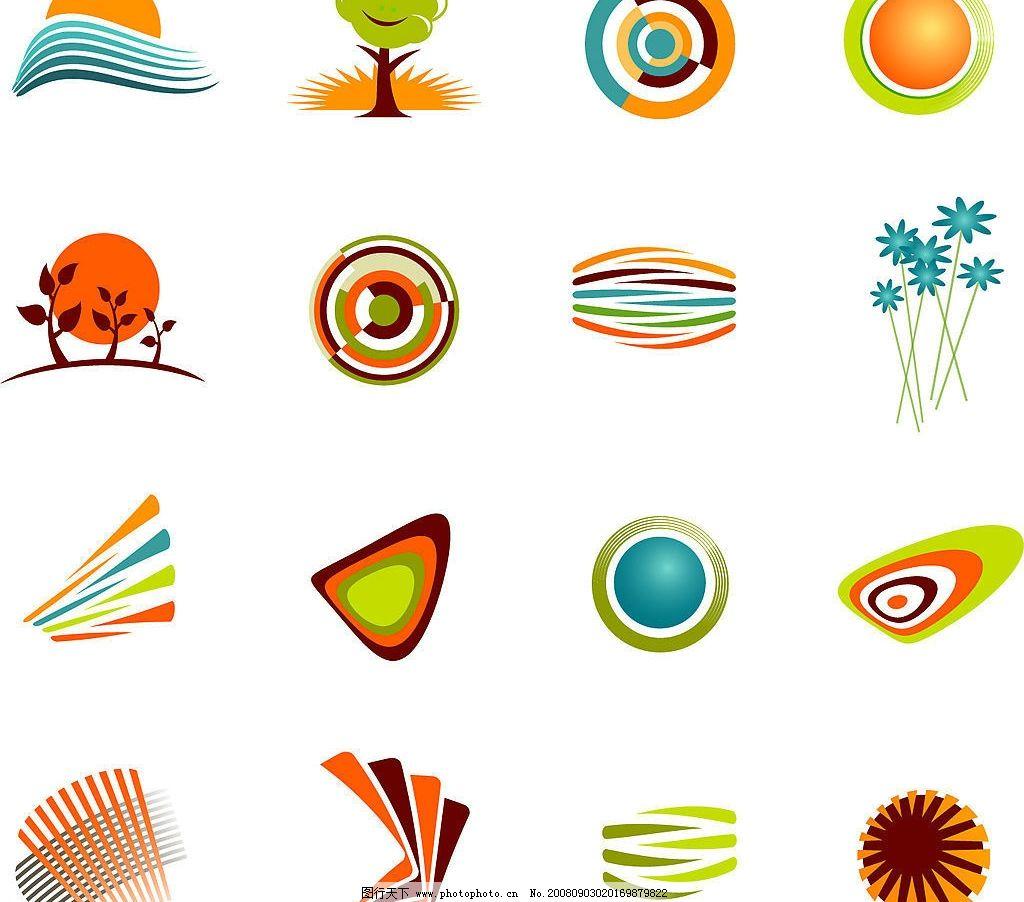 卡通简约图标矢量素材 矢量太阳 树木 圆形 线条 矢量素材 标识标志