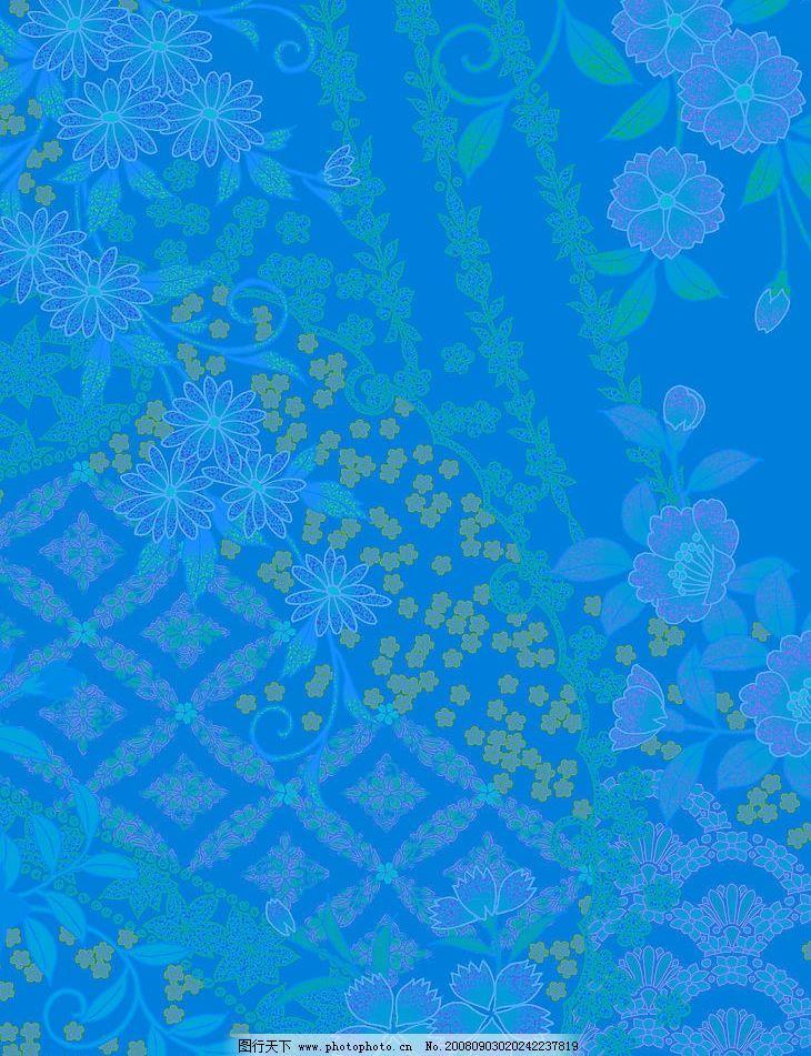 宝蓝色暗花背景底纹图片 花 日本风 高精 底纹图 底纹边框 背景底纹 设计图库 350DPI JPG 日本风格底纹图片