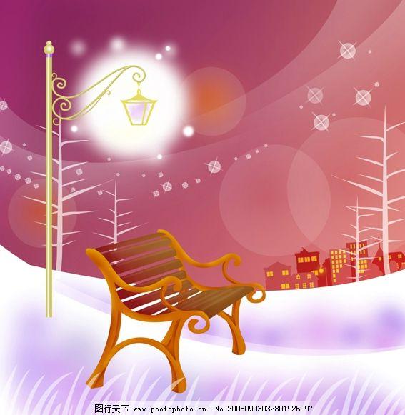 赏星 星光 夜景 街灯 椅子 月亮 建筑剪影 唯美 浪漫 psd分层素材
