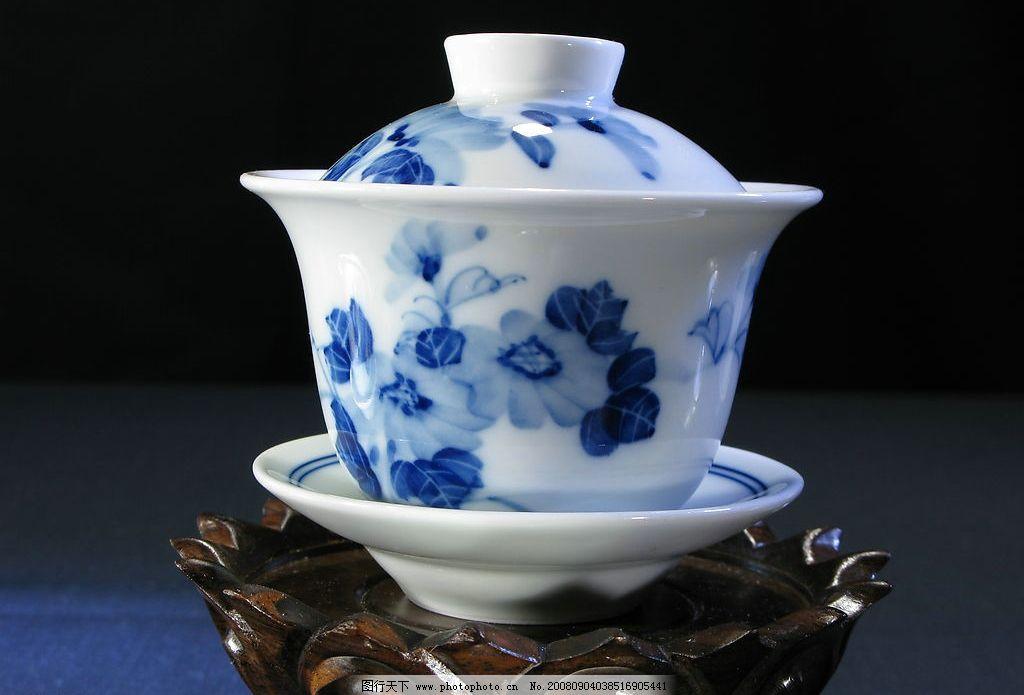 青花菊花盖碗 茶杯 青花瓷 瓷器花纹 瓷器造型 景德镇 中国传统陶瓷工