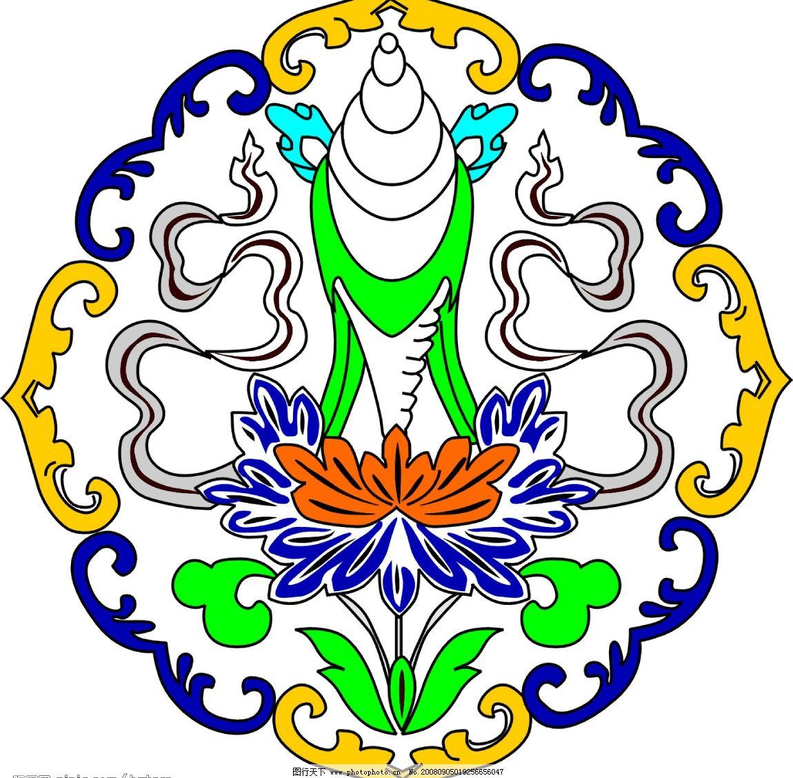 西藏八祥图手描 花纹 文化艺术 宗教信仰 矢量图库