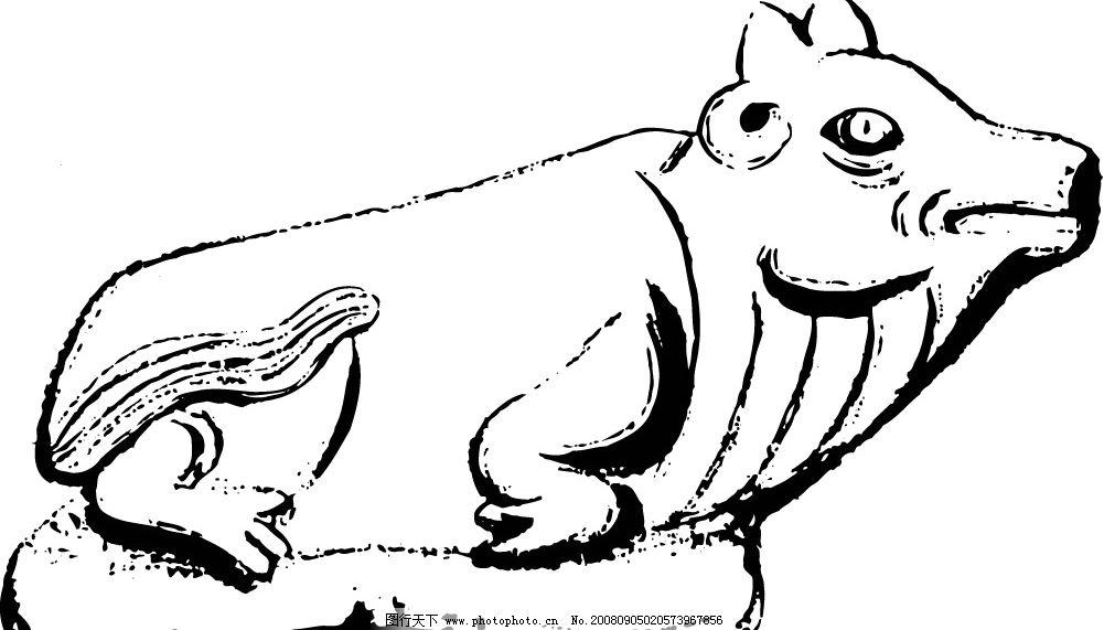 石猪 古代石雕图案 底纹边框 条纹线条 矢量图库 ai