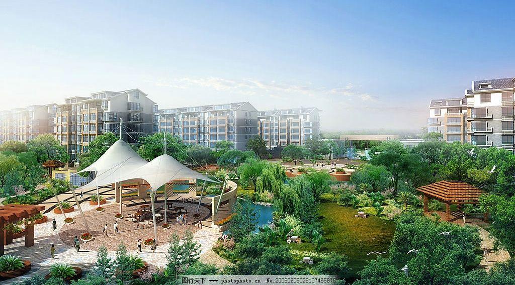 中心景观透视图 楼房 花木 人 走廊 素材 环境设计 景观设计 设计图库