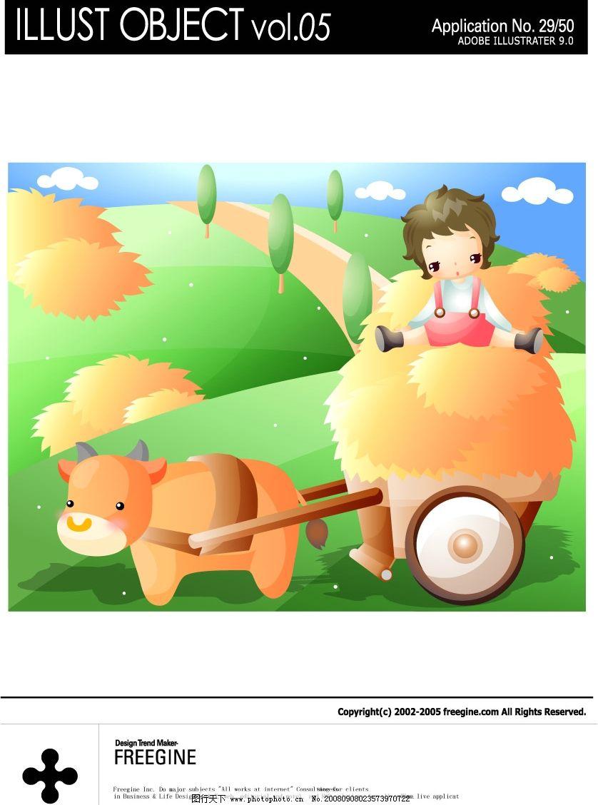 女童 黄牛 牛车 麦秸 绿地 绿树 蓝天 白云 矢量人物 儿童幼儿 矢量图