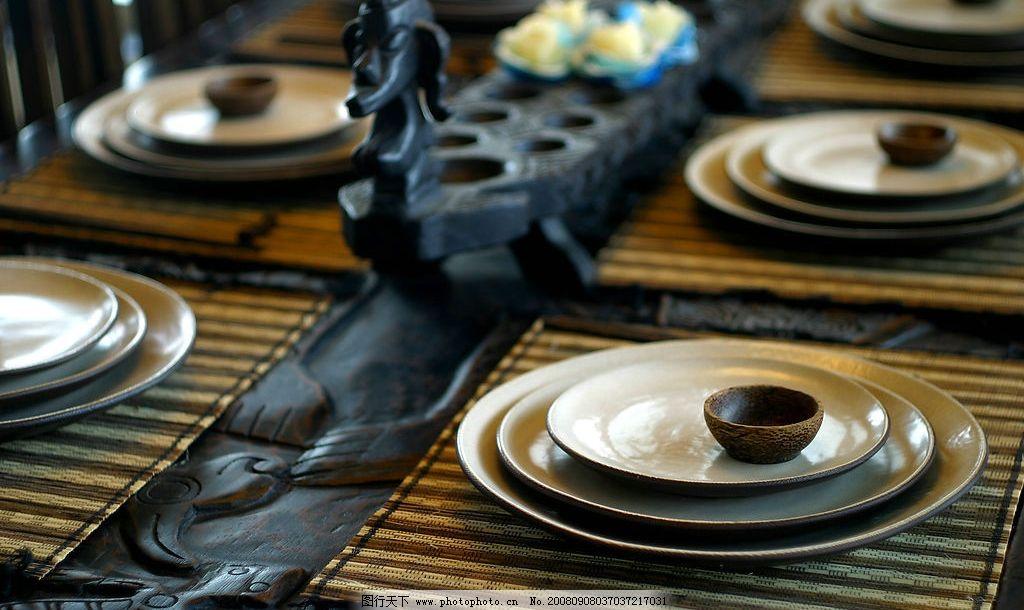 餐具 木雕 餐桌 盘子 陶器 生活百科 生活素材 摄影图库 180dpi jpg