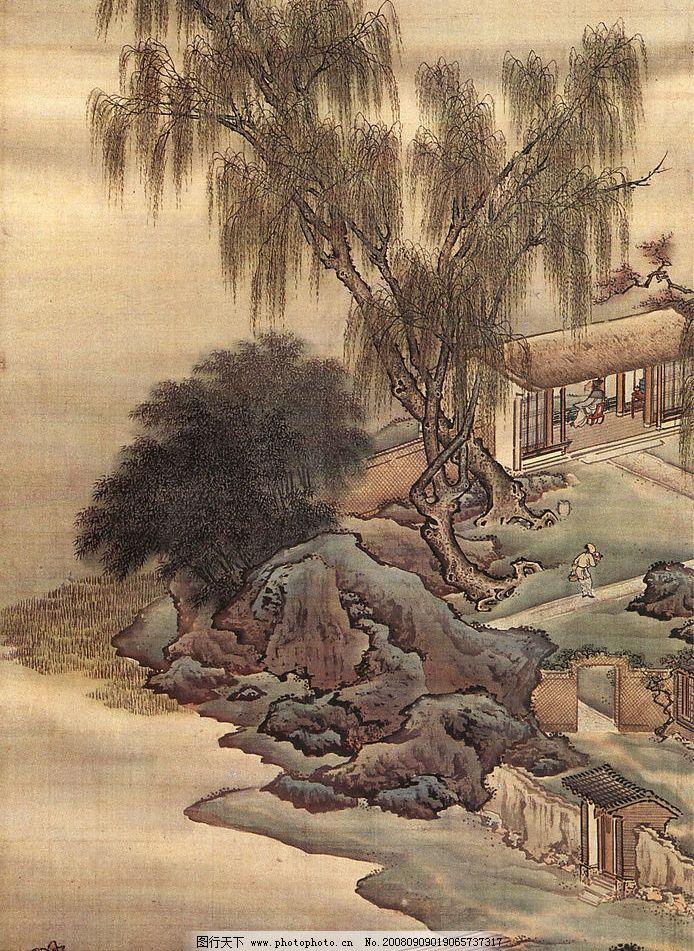 精美的国画 国画 假山 柳树 小桥 风景 古典 背景 文化艺术 绘画书法