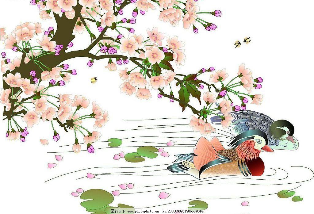 鸳鸯梨花 鸳鸯 文化艺术 绘画书法 设计图库 200dpi jpg