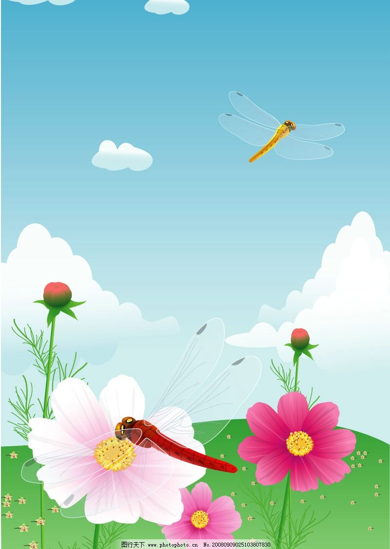 花丛中 风景矢量图片 花草 花卉蜻蜓 生物世界 矢量图库 ai