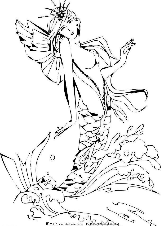 美人鱼可爱长发萌公主简笔画