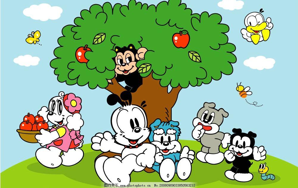 苹果树下 苹果树 卡通 可爱 动物 其他矢量 矢量素材 矢量图库 ai