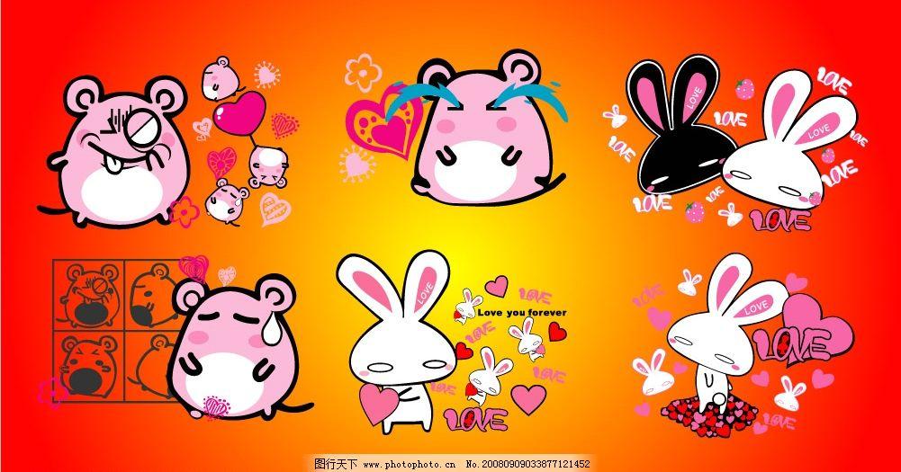 叮当和爱心兔 可爱 卡通 动漫 其他矢量 矢量素材 矢量卡通 矢量图库