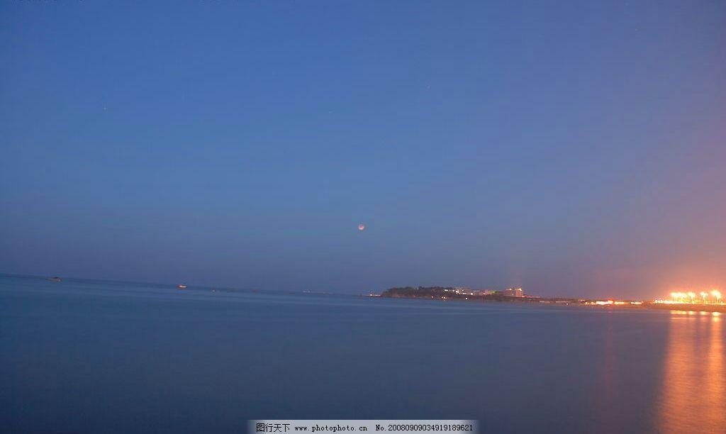 夜晚海上月亮 海 夜晚 月亮 海景 海边 烟台夜景 自然景观 其他 大海