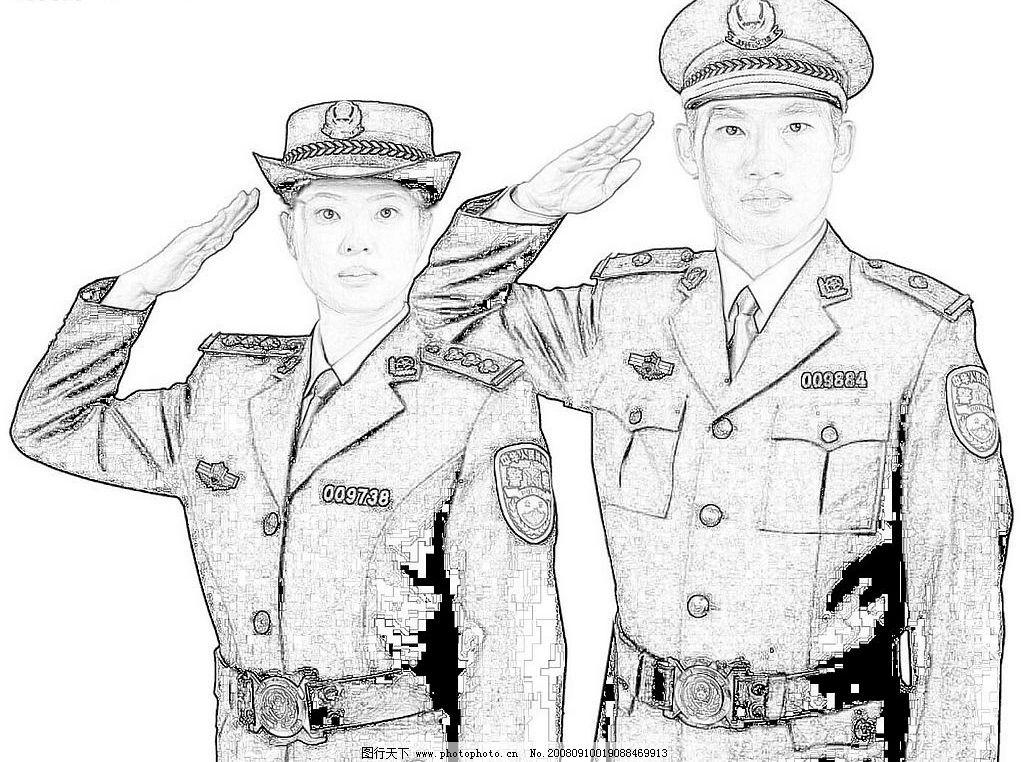 警察的简笔画-敬礼图片