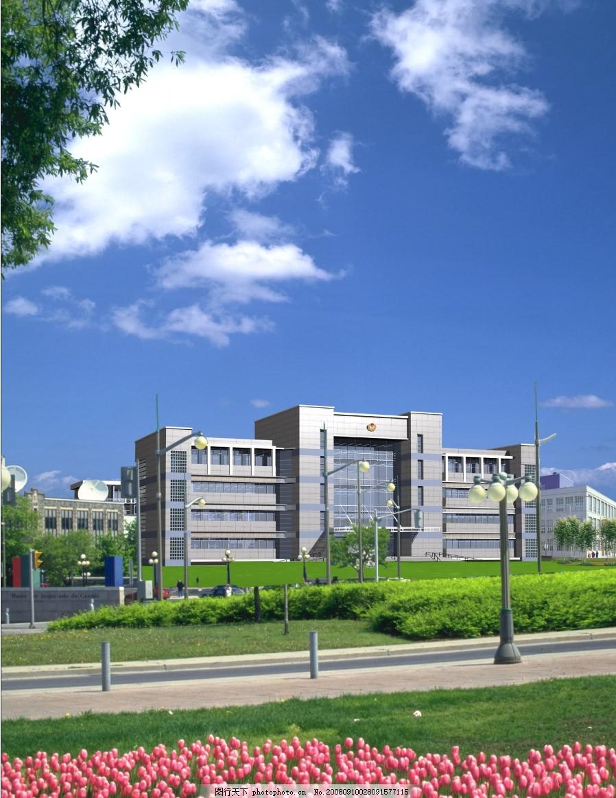 3d建筑背景素材 建筑配景图 天空 街道 花坛 路灯 源文件库图片
