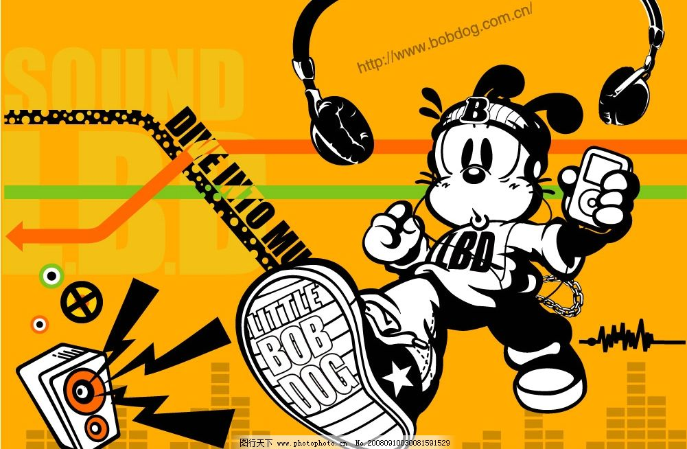 个性卡通酷图 个性 卡通 耳机 影箱 可爱 酷图 音乐 广告设计 海报