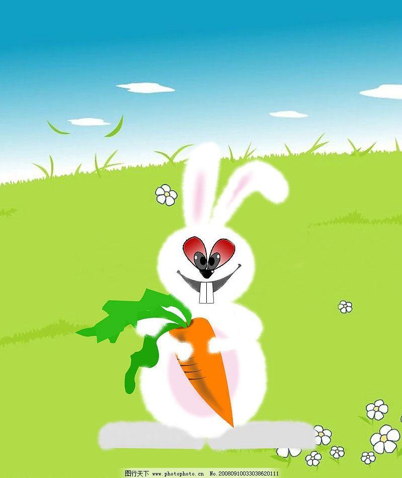 兔子 小白兔 卡通 可爱 龅牙 胡萝卜 一只 psd分层素材 其他 小兔子